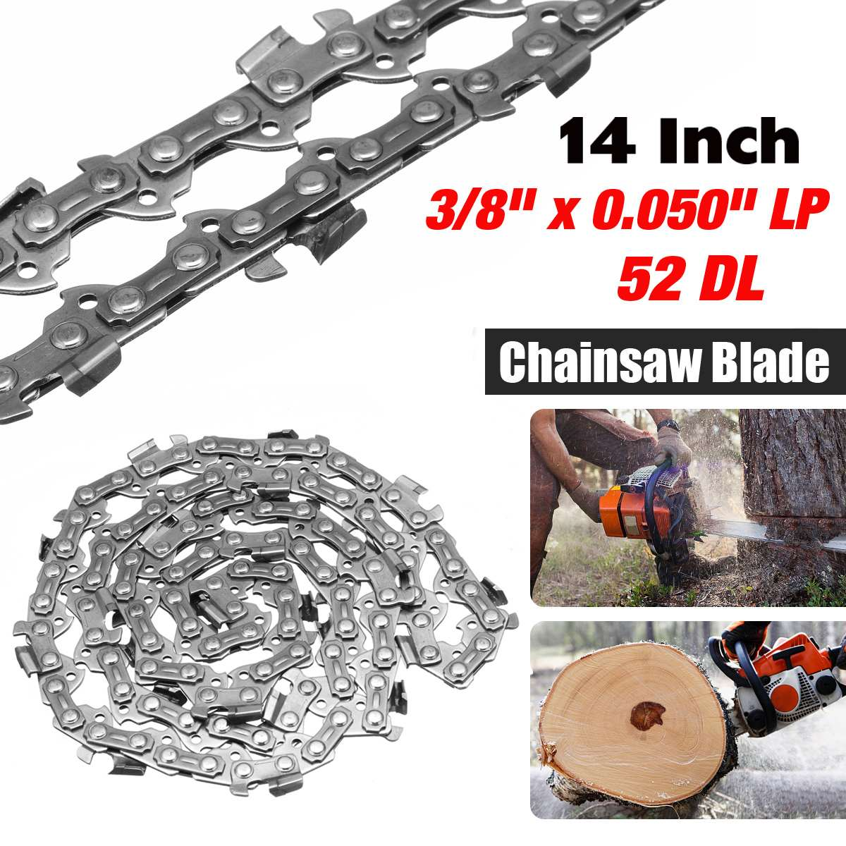14 inch 3/8 x 0.050 LP x 52 DL Garden Chain Saws Alloy Solid Carbide Chainsaw Chain Link Bar Power Tool parts 18 inch chainsaw chain 68 link bar 1 6mm x 0 325 lp garden chains saws alloy power tool parts