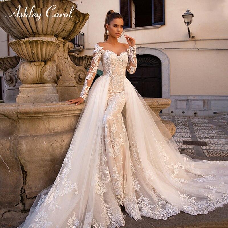 Ashley Carol Sexy Sweetheart Long Sleeve Mermaid Wedding Dress 2019 Detachable Train 2 In 1 Wedding Gowns Vestido De Noiva