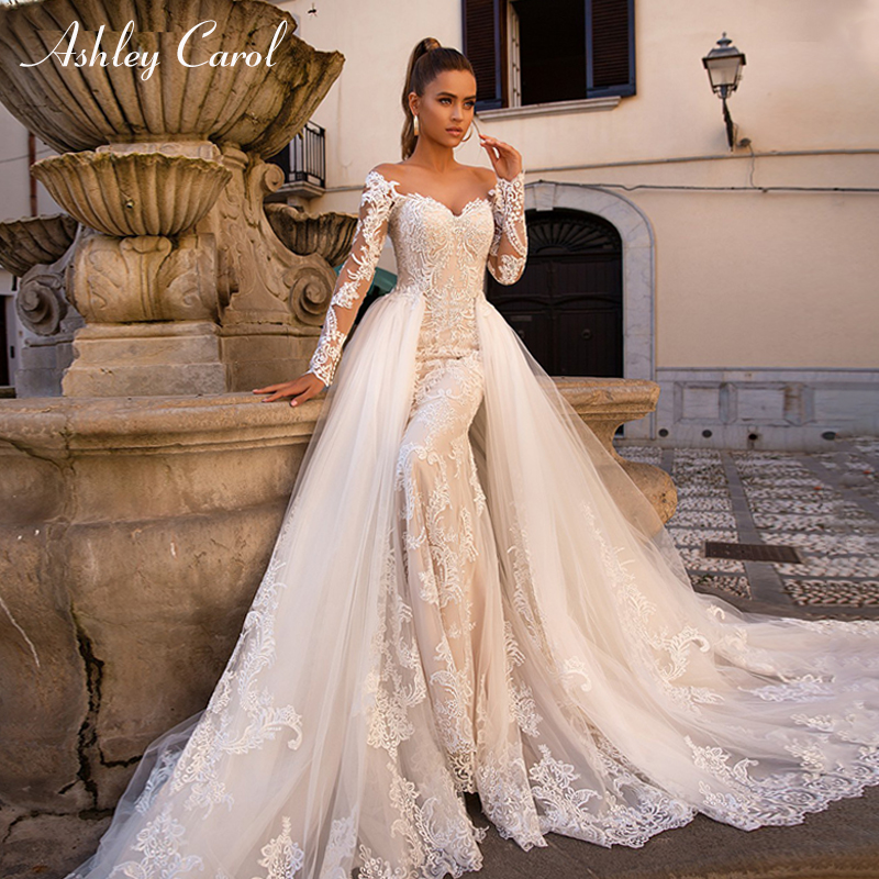 Ashley Carol Sexy Sweetheart Long Sleeve Mermaid Wedding Dress 2019 Detachable Train 2 In 1 Wedding Gowns Vestido De Noiva