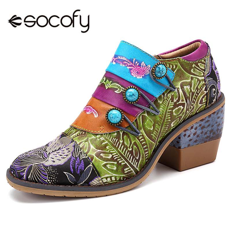 SOCOFY rétro boucle épissage coloré en cuir véritable fleurs motif couture fermeture éclair pompes bohème élégance dames chaussures-in Escarpins femme from Chaussures    1