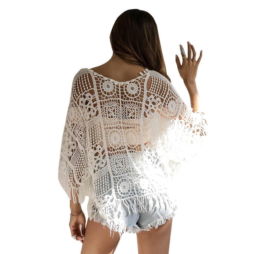 2019 Fashion sex Women Bathing Suit Hollow Tassel Cover-Ups Tops Sexy Lace Crochet Bikini Monokini Swim Cover Up Beach Dress New