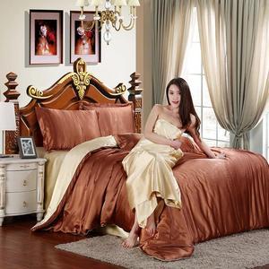 Image 5 - LOVINSUNSHINE colcha de lujo con funda de edredón, edredón de seda, Color sólido, AF03
