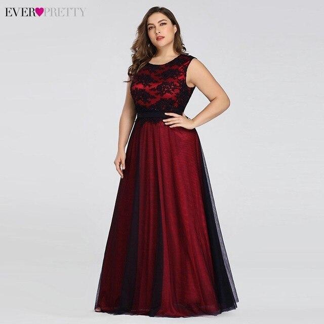 Plus Size Elegant Evening Dresses Ever Pretty Burgundy A-Line Lace Sleeveless Sexy Dress for Party EZ07545 Robe De Soiree 2020 2