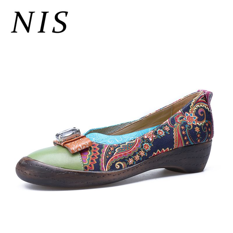 NIS Bohemian Vintage Style Slip on Shoes Woman Spring Summer Crystal Printed Genuine Leather Women Flat