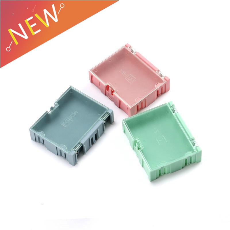 3pcs SMD SMT Component Container Storage Boxes Case Plastic Jewelry Electronic Case Tool Boxes Pink 75*63*21mm