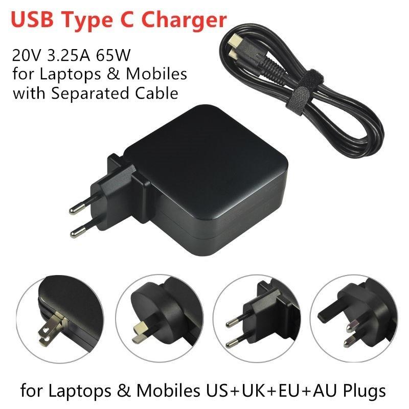 ①  20 В 3.25A 65 Вт USB C Тип C Универсальный ноутбук Зарядное устройство для ноутбука Lenovo Yoga 5 Pr ✔