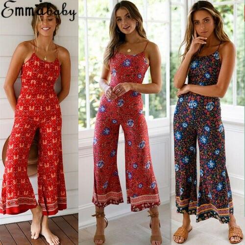 Women Floral Romper Casual Wide Leg Long Pants   Jumpsuit   Playsuit Summer Overalls