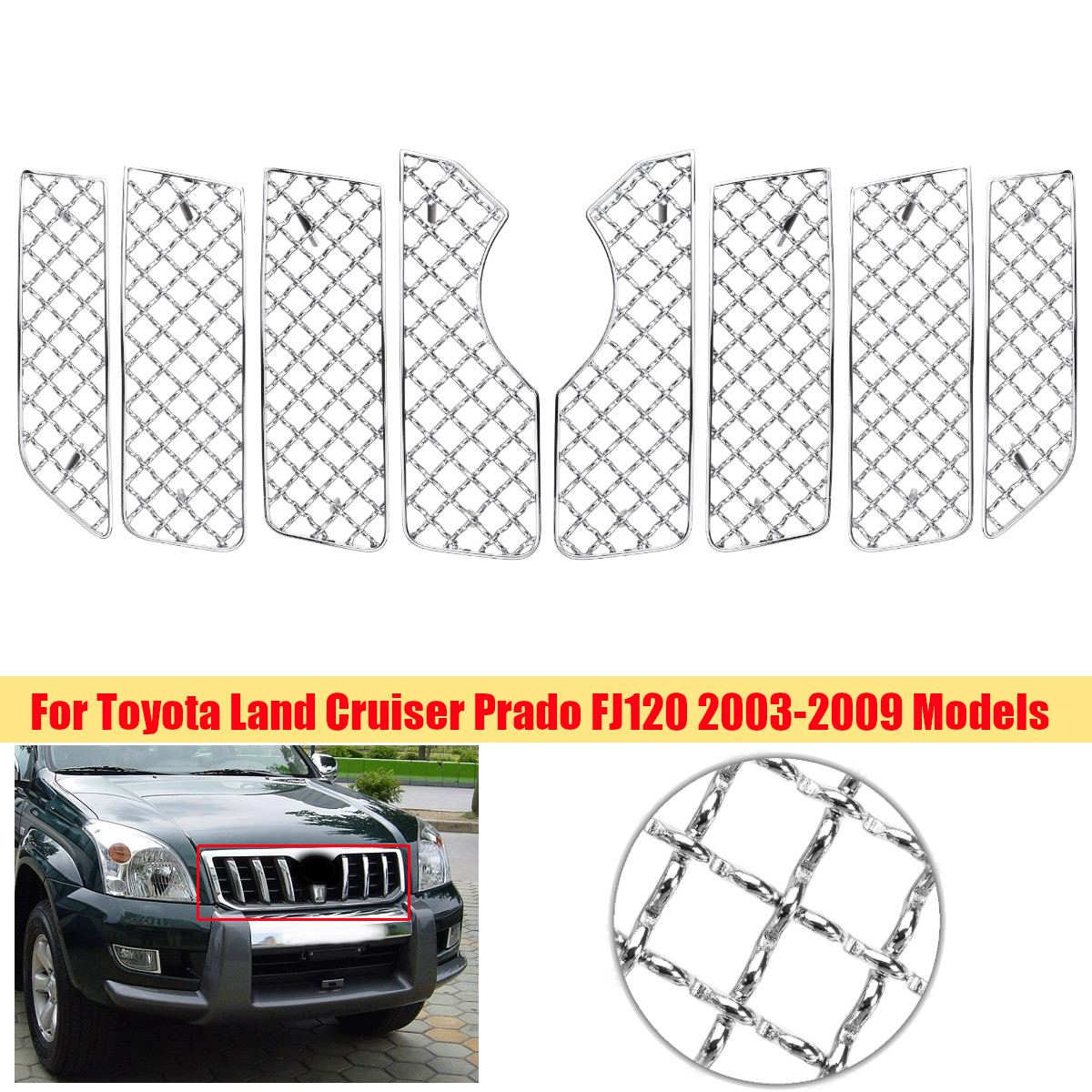 8Pcs Set Car Front Insect Screening Mesh Net Grille For Toyota Land Cruiser Prado For FJ