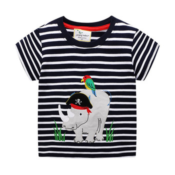 Jumping meters New Fashion Baby Boys Tees Applique Cotton Kids T shirts Animals Stripe Childrens Summer Clothes Tops
