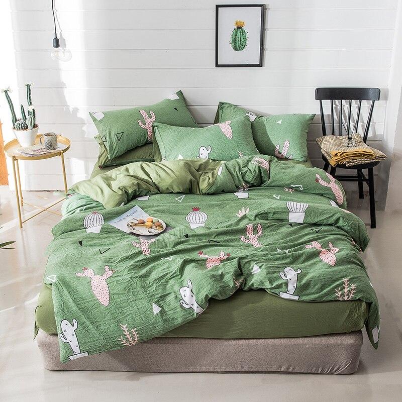 Home Textile Cactus Bedding Set Green Bed Cover Bed Sheets Bed Set Bed Linen Bedspread Plants Bedding Kids Modern Simple Bedding