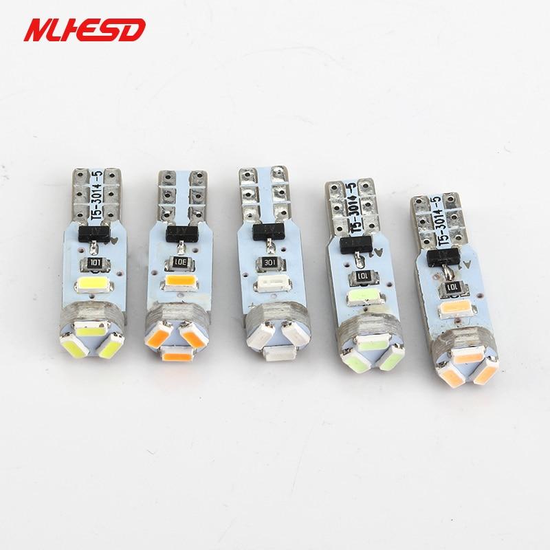 10Pcs AC 12V T5 led 5 SMD 3014 LED 5SMD Instrument Panel Speedometer Dashboard Light Bulbs LED white blue red yellow green AC12V