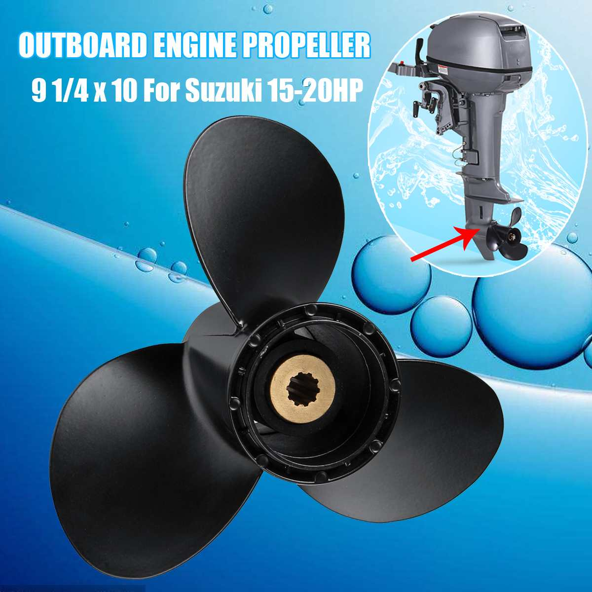 Audew Boat Propeller 58100-93733-019 For Suzuki 15-20HP 9 1/4 X 10 Outboard Engine Propeller Aluminum Alloy 3 Blades