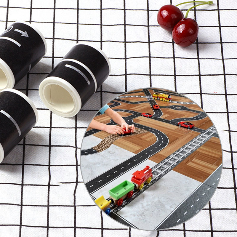 1PC Novelty Railway Road Washi Tapes Creative Decorative Tapes Traffic Road Adhesive Masking Tapes For Kids Toys School Supplies