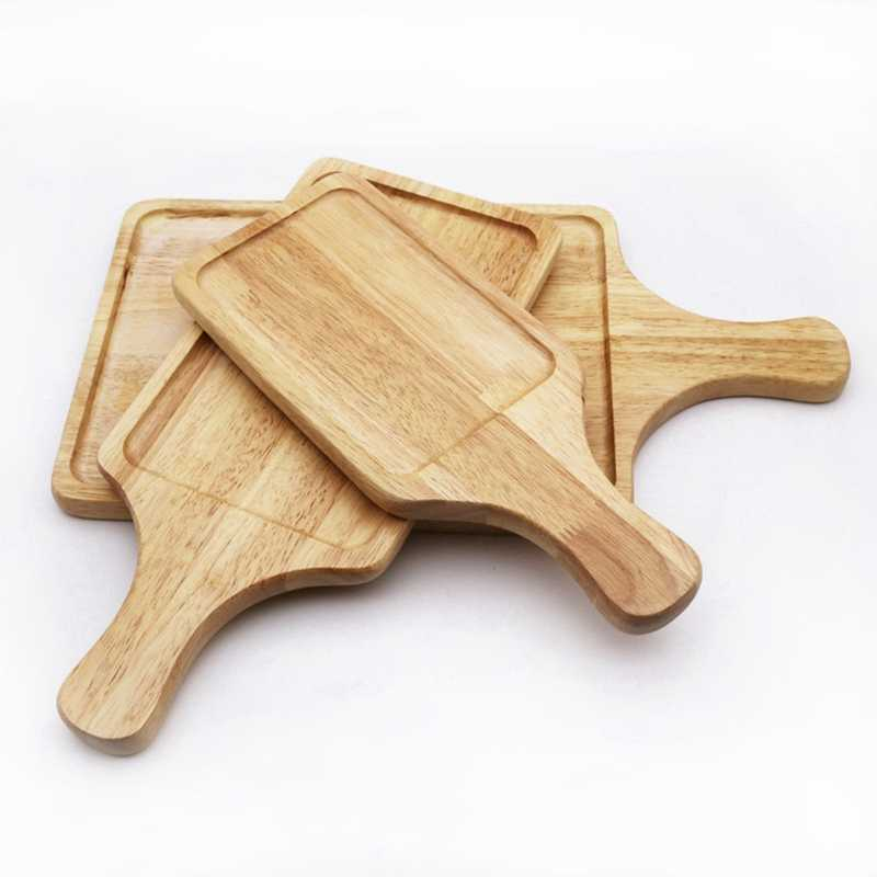 Wood Pizza Bread Tray Cutting Board Chopping Blocks With Handle For Picnic And Household Use Easy Wash Wood Tray Kitchen