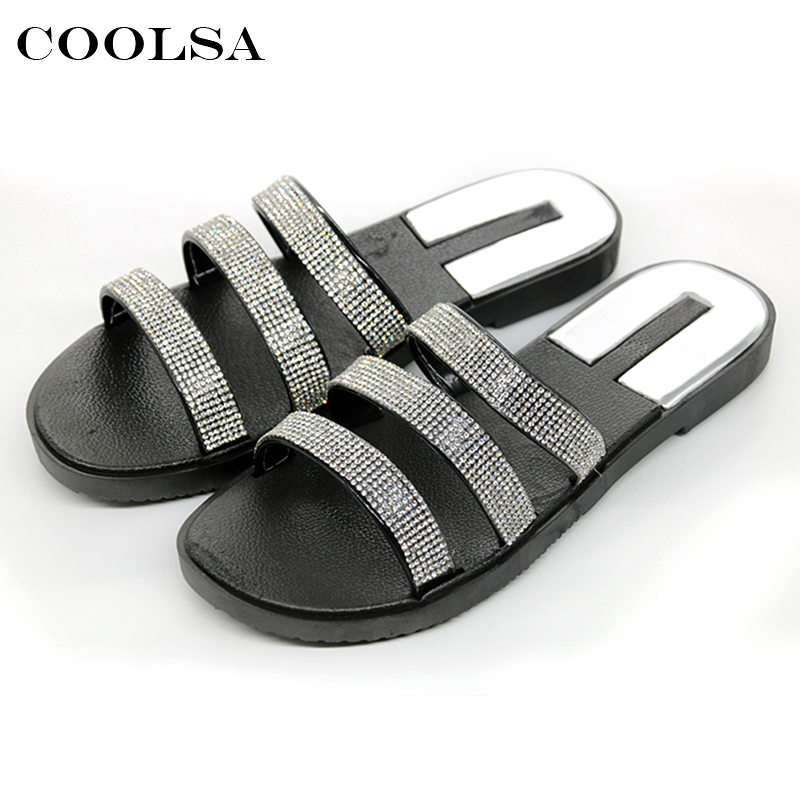 New Summer Brand Women Beach Sandals Crytal Bling Slippers Non slip Flat Rhinestone Slides Home Flip Flops Fashion Causal Shoes