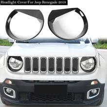 Carro exterior frente chrome cabeça luz grill capa guarnição para jeep renegado 2015-18