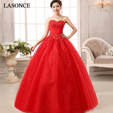 LASONCE Lace Appliques Ball Gown Wedding Dresses Crystal Strapless Off The Shoulder Sequined Backless Bridal Gowns lasonce lace appliques ball gown wedding dresses crystal strapless off the shoulder sequined backless bridal gowns