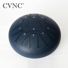 CVNC 10 inch Steel Tongue Drum 11 Notes Pentatonic Scale Hank Drum for Adult Percussion Instruments with Many Accessories