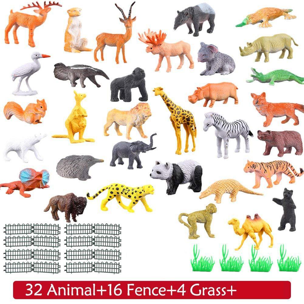 RCtown 53pcs set Dinosaur Wildlife Model Children Puzzle Early Education Gift Mini Jungle Animal Toy Set
