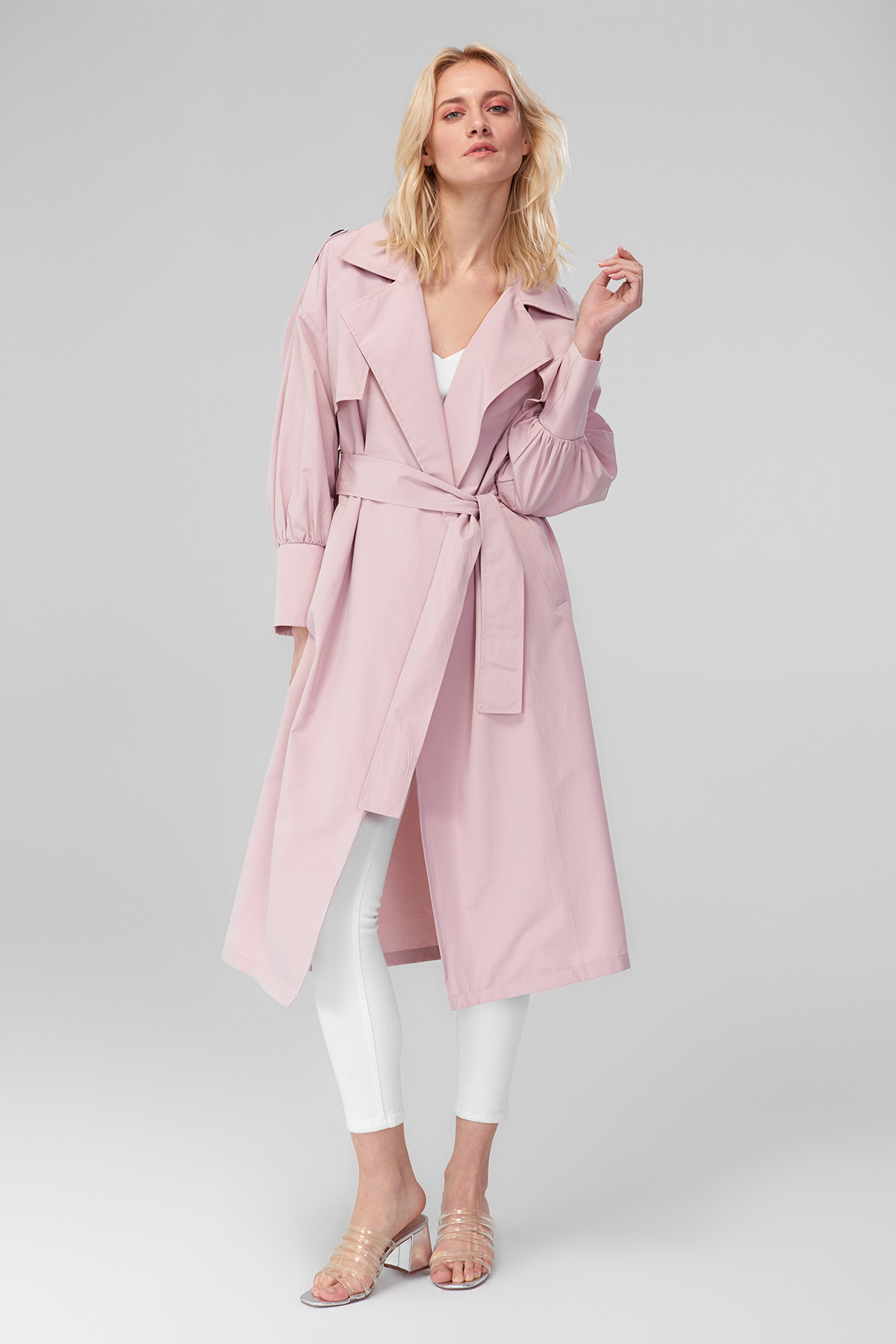 Trendyol Bubble Sleeve   Trench   Coat Powder Arched TOFSS18BY0283
