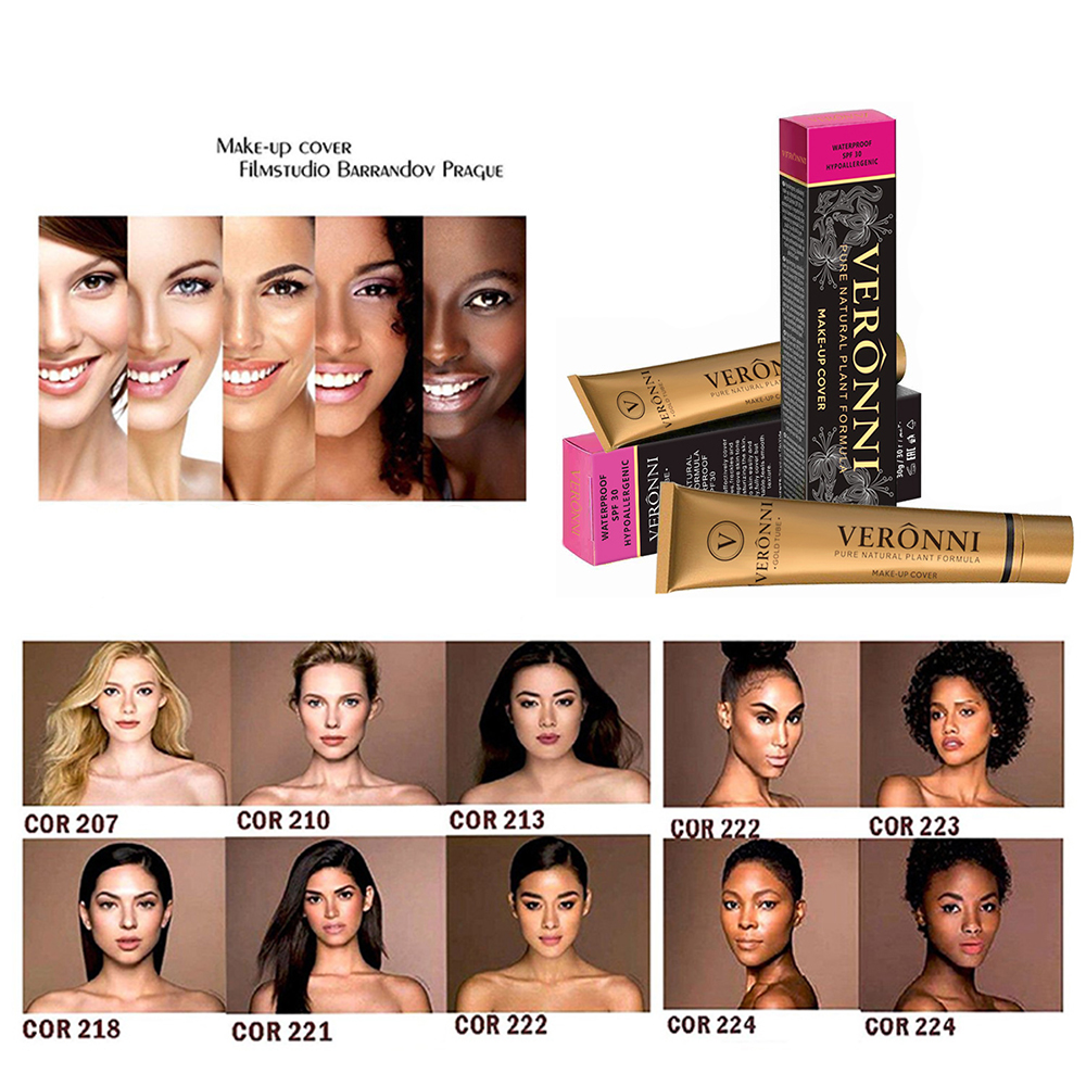 VERONNI 14 Colors Small Gold Pipe Waterproof Make Up Foundation Cream Eye Circle Fine Lines Skin Concealer Liquid TSLM2