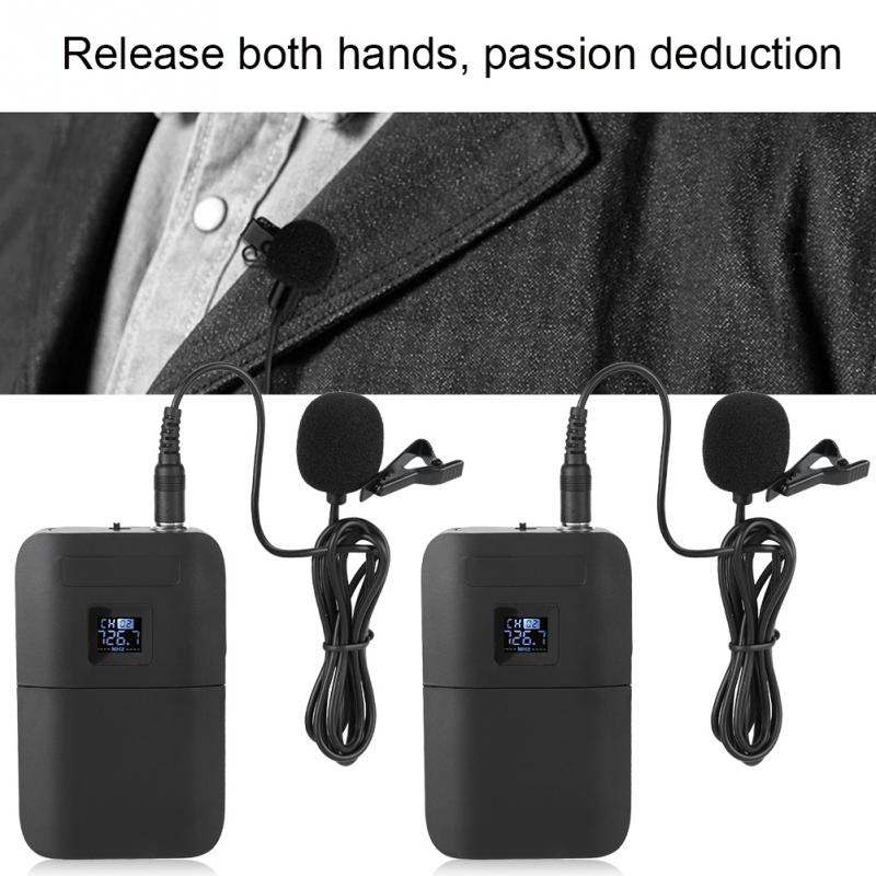 Portable Wireless VHF Mic Lapel Clip Microphone with Receiver Transmitter