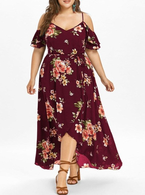 2019 Women Plus Size Bohemian Chiffon Dress Short Sleeve Cold Shoulder Print Dresses Summer Irregular Long Dress