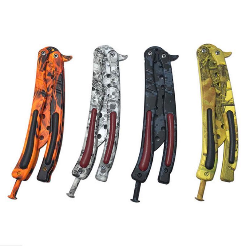 Outdoor Multi tool Butterfly Training Knife Practice Not Edged CSGO Knife Butterfly Folding Knife Novice Training Pocket Knife