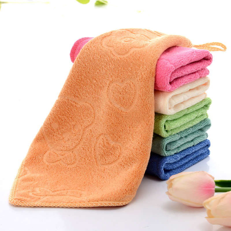 For Kids Bear Printed Hand Towels Cartoon 25*25cm 1PC Square Popular Kids Face Towels Hot Sale Cotton Home Textile Daily Use