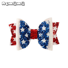 ncmama 3 4th of July Glitter Hair Bows for Girls Princess Clips Cute Red Blue White Star Hairgrips Kids Accessories