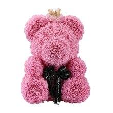 40 см плюшевый мишка с короной в подарочной коробке медведь из роз искусственный цветок новогодние подарки для женщин подарок на день Святого Валентина