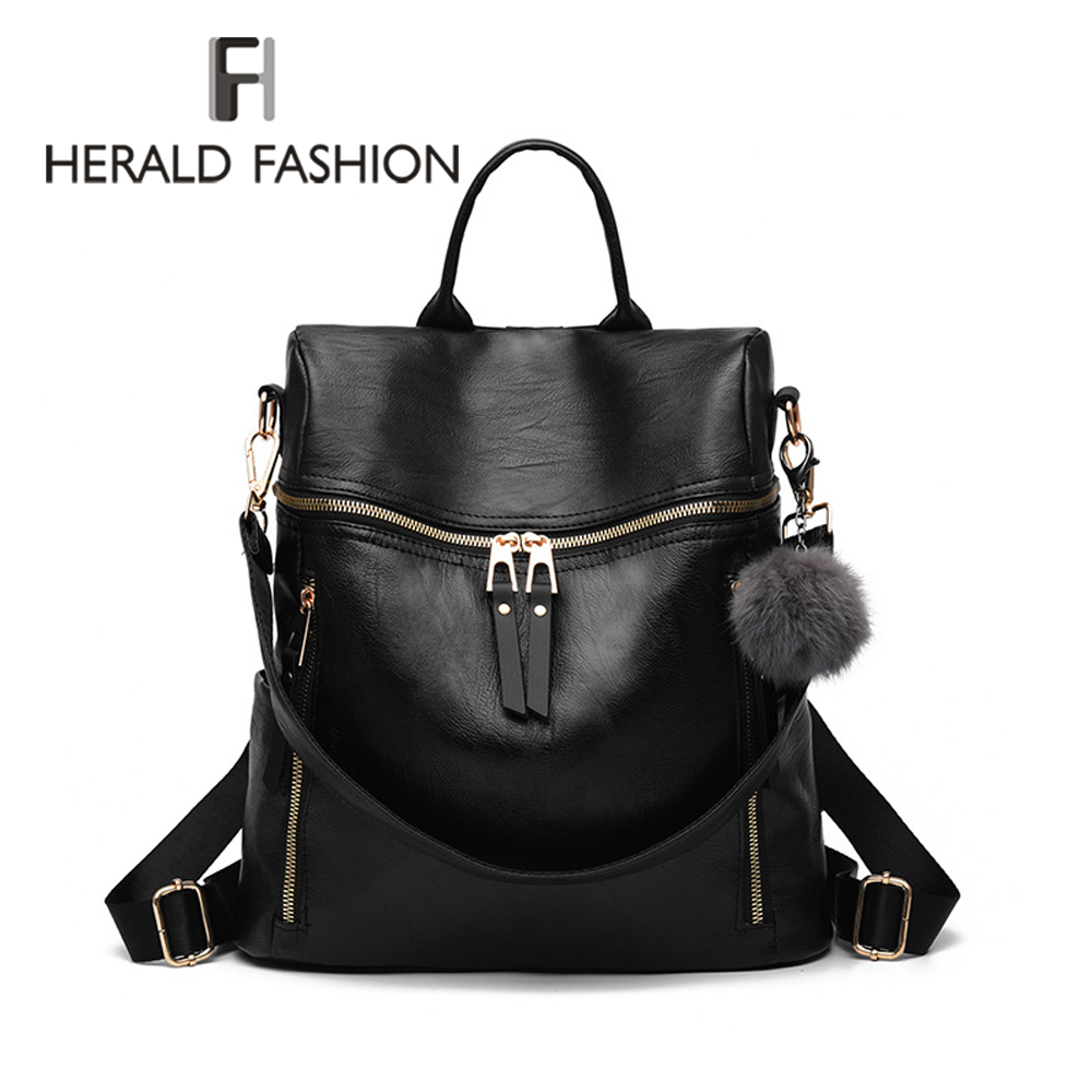 Herald Fashion Simple Backpack Women PU Leather Backpack For Teenage Girls School Bags Fashion Vintage Solid Black Shoulder Bag