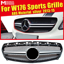W176 Grille AEAMG Style ABS material Silver Front Bumper Grills Mesh Fits For Sports A180 A200 Without emblem Grill 2013-15