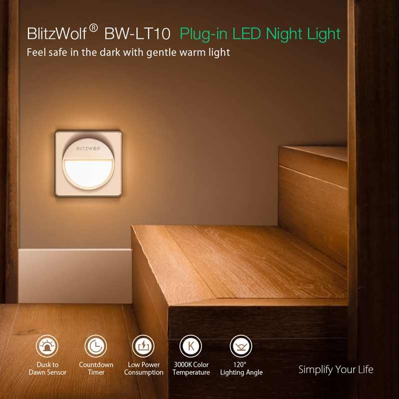 BlitzWolf BW-LT10 المكونات في LED ضوء الليل أضواء ليلية صغيرة الاتحاد الأوروبي التوصيل 3 طرق 3000K 20 لومينز 120 زاوية الإضاءة مصباح ليلي صغير
