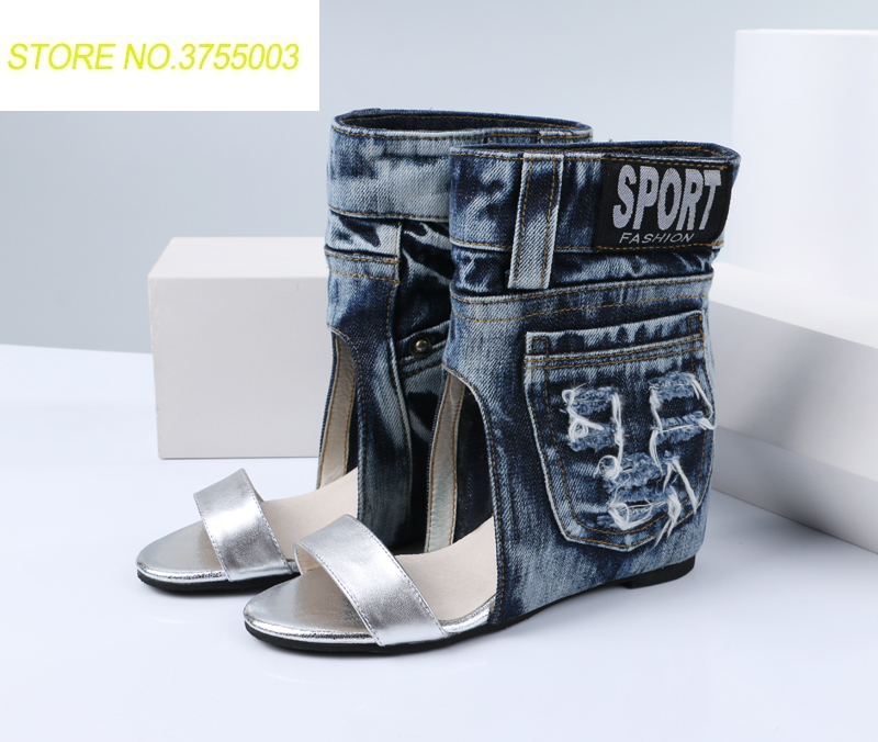 2018 New Arrival Vintage Wedding Party Dress Shoes Woman Denim Height Increasing Sandals Patchwork Ankle Warp Summer Sandals2018 New Arrival Vintage Wedding Party Dress Shoes Woman Denim Height Increasing Sandals Patchwork Ankle Warp Summer Sandals