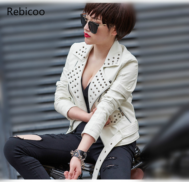 Black Red White Plus SIZE 3XL 4XL Rivet Motorcycle   Leather   Jackets Woman 2018 Fashion Female Steerwear Short Overcoat