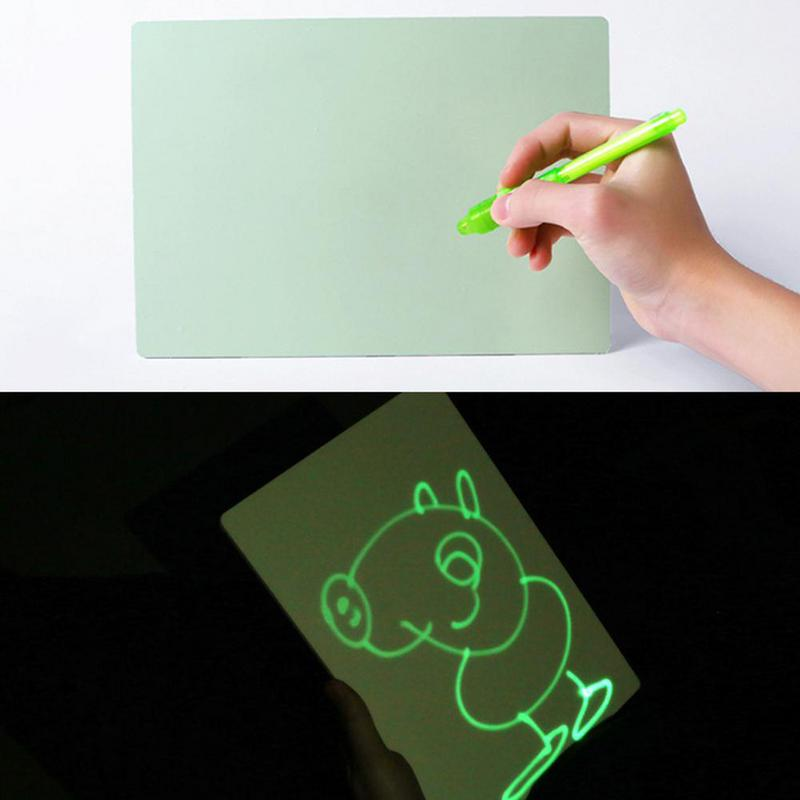 PVC A4 Draw con luz en la oscuridad niños Sketchpad juguetes tablero de dibujo luminoso