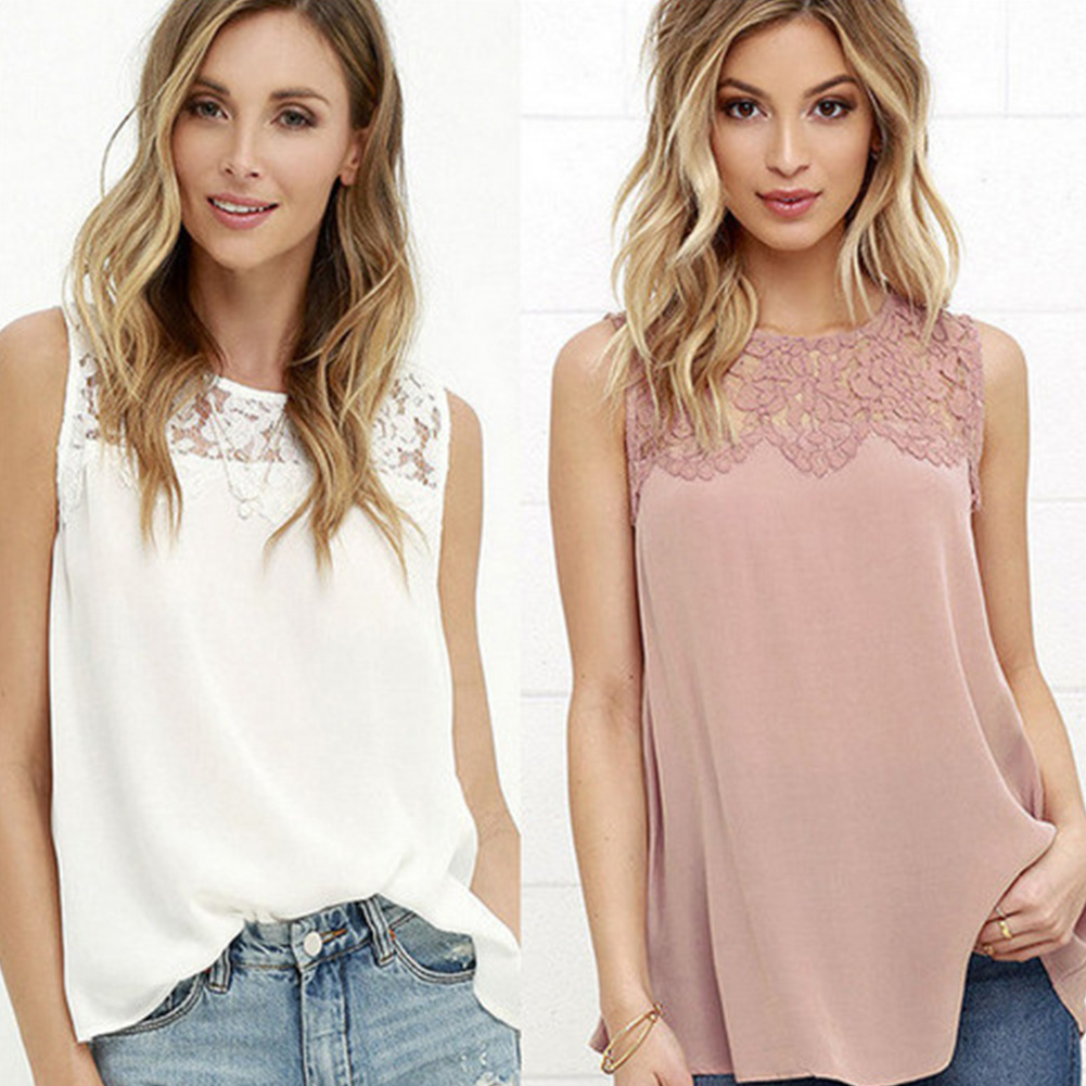 Blouse Long-Vest Women Lace Summer Top Loose Chiffon Sleeveless New for Girls Stitching