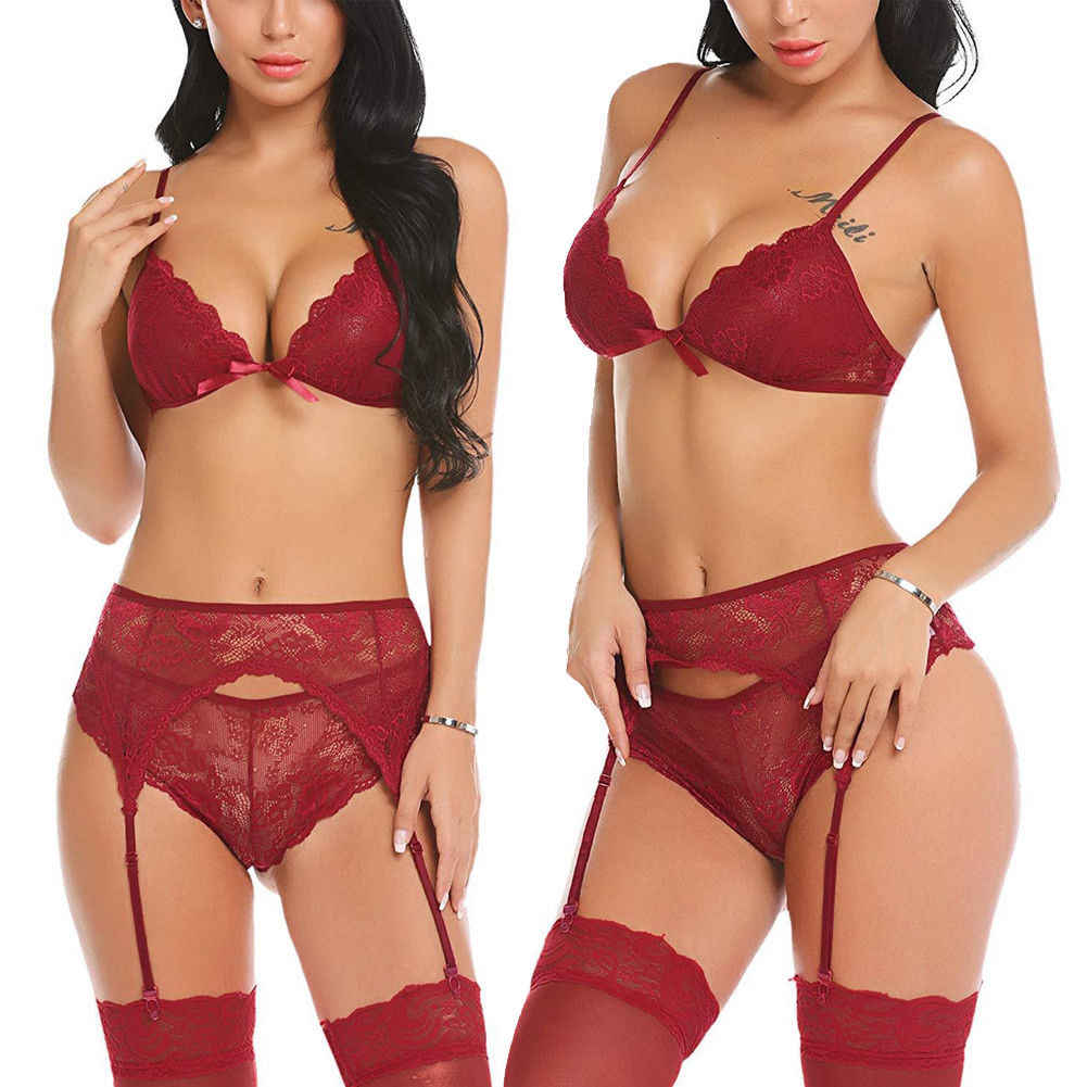 3a6a461a2 ... Women Lace Lingerie Set with Garter Belts Strap Sexy Babydoll V Neck  Bra Throng Nightwear Bodysuit