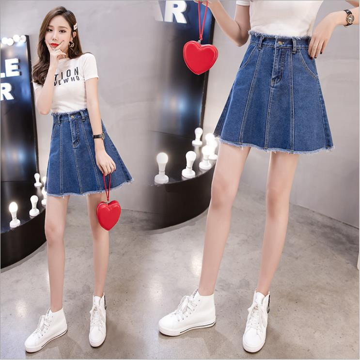Women Denim High Waist Skirt Summer A Line Short Ladies Skirts Plus Size Denim Mini Skirt With Buttons Skirts Womens Plus Size in Skirts from Women 39 s Clothing