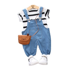 цена на Summer Kids Fashion Clothes Children Boys Girls Striped T-shirt Overalls 2Pcs/Set Baby Cotton Clothing Sets Toddler Tracksuits