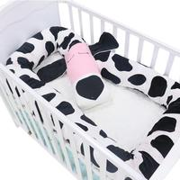 Newborn Baby Crib Pillow With Spotted Dog Pattern Children Pure Cotton Bolster Pillow Crib Bumper Kids Pillow Baby Bed Decor