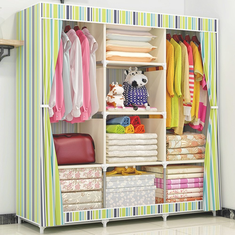 Fully Closed Portable Clothes Storage Closet Quilts Organizer Wardrobe with Metal Shelves & Dustproof Non woven Fabric Cover|Wardrobes| |  - title=