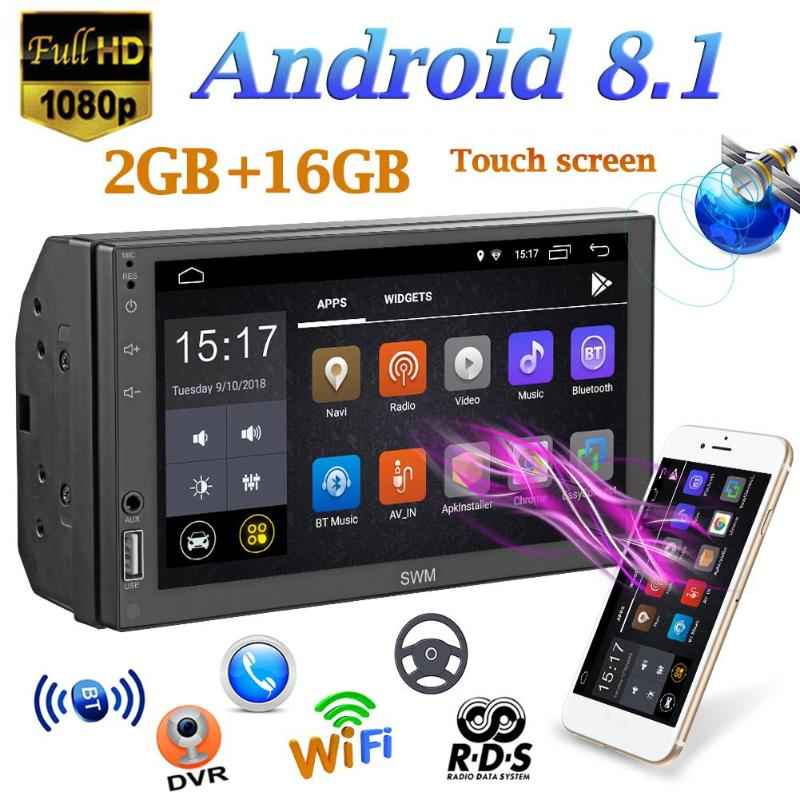 SWM Car MP5 Player A1 2Din Quad-core Android 8.1 Car Stereo MP5 Player GPS Navi WiFi RDS FM AM Radio U Disk BT4.2 Without Camera