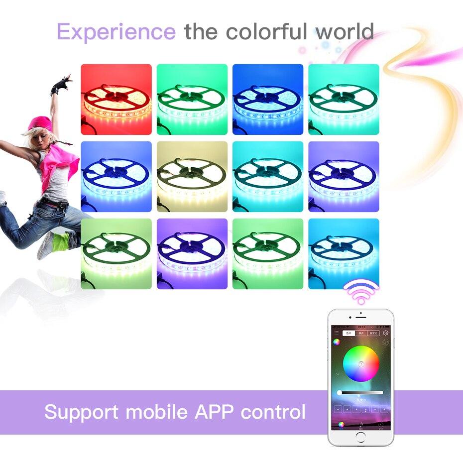 5M LED Strip Light Waterproof RGB SMD 5050 DC 12V Flexible Ribbon Led Diobe Tape Addressable