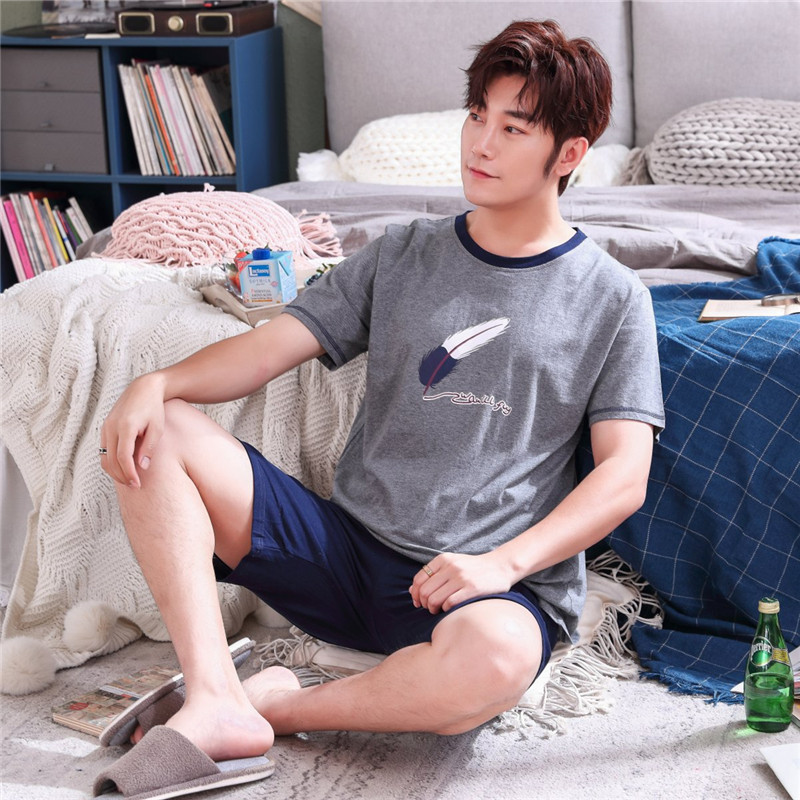Pajamas-Set Sleep-Shirt Suit Shorts Homewear Plus-Size Summer 100%Cotton Casual XXXL