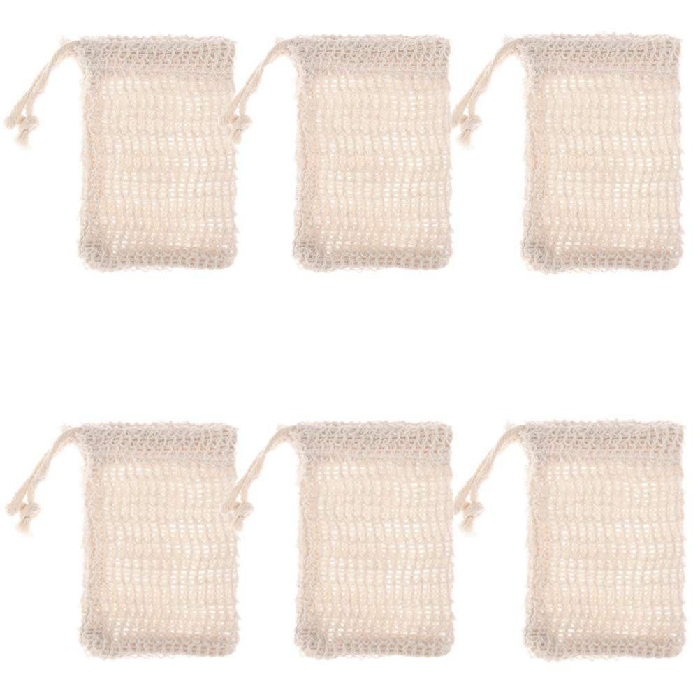 6 Pcs Natural Exfoliating Soap Bags Handmade Sisal Soap Bags Natural Sisal Soap Saver Pouch Holder Bath Soap Holder Bags Reliable Performance Bathroom Fixtures Liquid Soap Dispensers