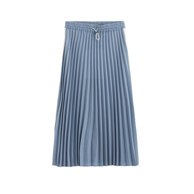 Image 5 - INMAN Spring Autumn High Waist Slim Literary Retro Casual All match Women A line Pleated Long SkirtSkirts   -