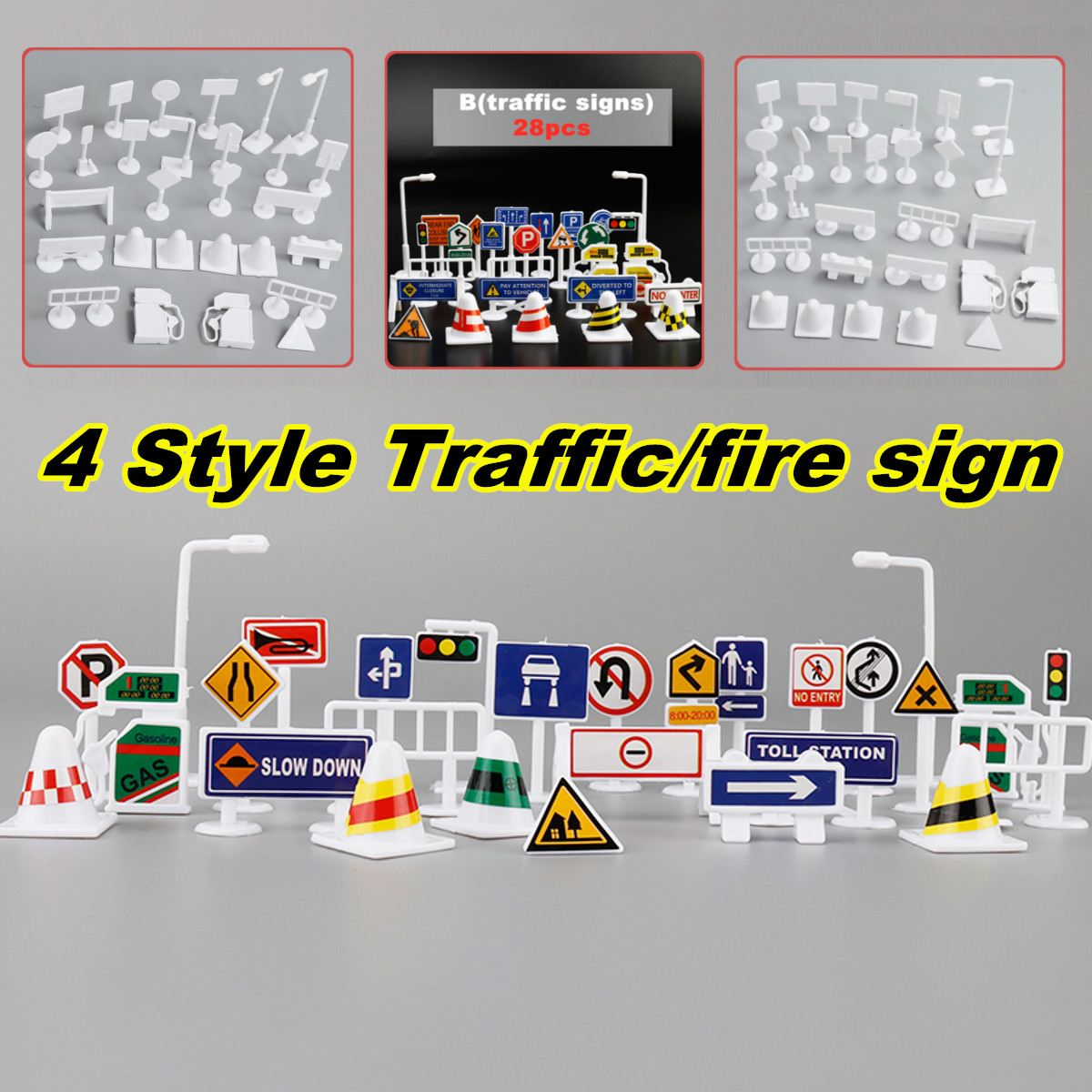 4 Types 28pcs Traffic Road Sign Educational Toys Kids Game Playing Baby Children Learning Toys Gifts Car Toys Accessories Set