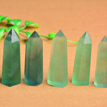 Natural green stone purple fluorite crystal column decoration degaussing energy hexagonal prism8 cm 910 11 12
